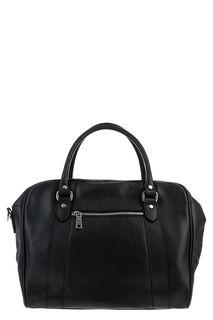 Вместительная кожаная сумка черного цвета Sergio Belotti