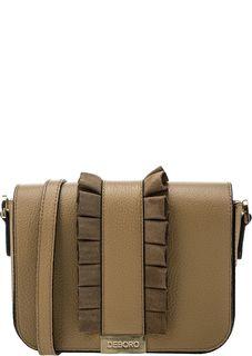 Кожаная коричневая сумка с откидным клапаном Deboro