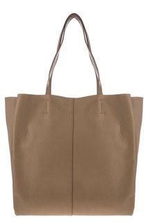 Вместительная кожаная сумка бежевого цвета Sergio Belotti