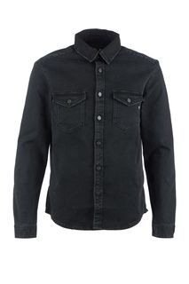 Черная джинсовая рубашка с длинными рукавами Replay
