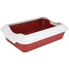 Туалет для кошек Homecat с бортиком ( красный), 37x27x11,5 см