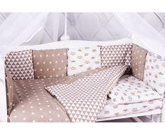 Бортик в кроватку 12 предметов (12 подушек-бортиков) AmaroBaby SOFT (коричневый, бязь)