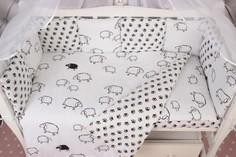 Бортик в кроватку 12 предметов AmaroBaby HOME ELITE(белый/черный, поплин/бязь)