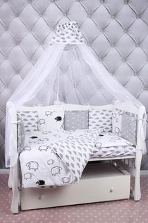 """Бортики в кроватку AmaroBaby""""Royal baby"""", 12 предметов, бязь/поплин (серо-белый)"""