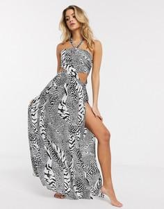 Пляжное платье макси с халтером, вырезами и звериным принтом ASOS DESIGN-Мульти