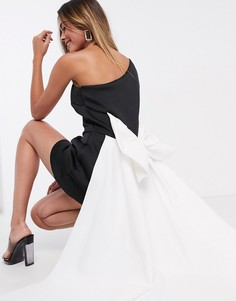 Монохромное платье мини с большим бантом True Violet Black Label-Мульти