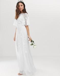 Свадебное платье с вышивкой и рукавами клеш ASOS EDITION-Белый