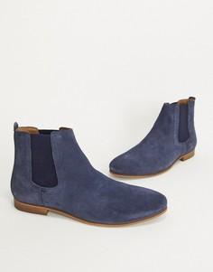Темно-синие замшевые ботинки челси Dune-Темно-синий