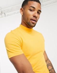 Желтая обтягивающая футболка с высоким воротником ASOS DESIGN-Желтый