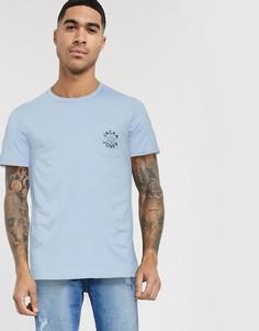 Футболка с нагрудным карманом и логотипом Jack & Jones-Синий