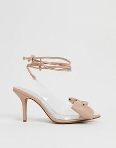 Туфли на среднем каблуке с завязками и бантиками ASOS DESIGN-Очистить