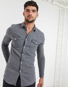 Серая джинсовая приталенная рубашка ASOS DESIGN-Серый