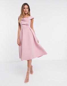 Розовое приталенное платье для выпускного ASOS DESIGN-Розовый
