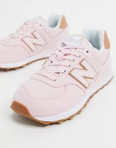 Розовые кроссовки средней высоты New Balance 574-Розовый