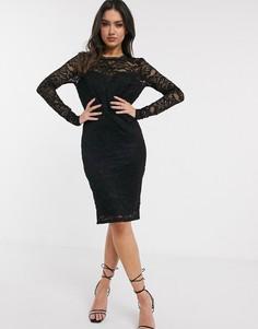 Черное кружевное платье миди Flounce London-Черный