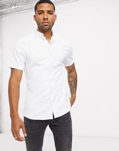 Белая приталенная сатиновая рубашка с короткими рукавами ASOS DESIGN-Белый