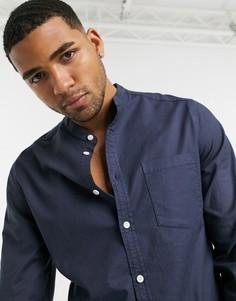 Темно-синяя облегающая оксфордская рубашка с воротником на пуговице ASOS DESIGN-Темно-синий