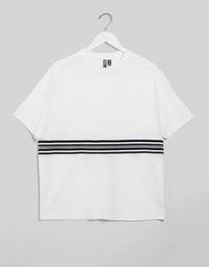 Белая футболка свободного кроя со вставкой в рубчик ASOS DESIGN-Белый