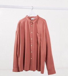 Розовая джинсовая oversized-рубашка в стиле90-х ASOS DESIGN Plus-Розовый