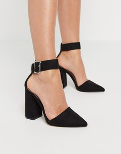 Черные туфли на блочном каблуке Qupid-Черный