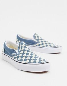 Голубые/белые кроссовки-слипоны в клетку Vans Ua Classic-Синий