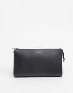 Миниатюрная кожаная сумка черного цвета Hugo Boss-Черный