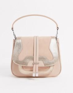 Светло-бежевая кожаная сумка Hugo Boss-Бежевый