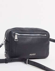 Черная кожаная сумка через плечо с карманом на молнии Hugo Boss-Черный