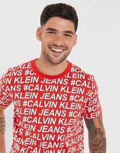 Футболка классического кроя с логотипомCalvin Klein Jeans-Красный