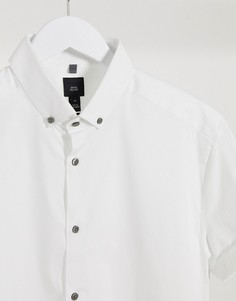 Белая обтягивающая рубашка с короткими рукавами River Island-Белый