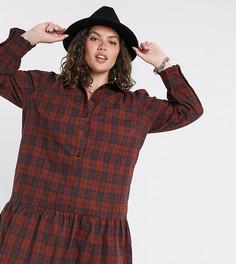 Платье-рубашка с принтом в клеткуOnly Curve-Мульти