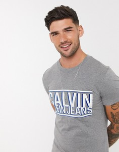 Футболка узкого кроя Calvin Klein Jeans-Серый