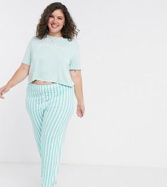 Зеленая пижама с футболкой и брюками в полоску In The Style Plus x Billie Faiers-Зеленый