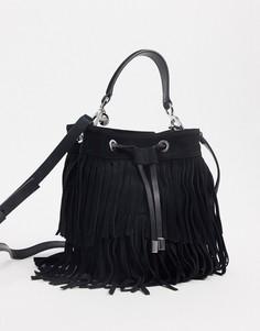 Черная кожаная сумка-мешок на шнурке Hugo Boss-Черный