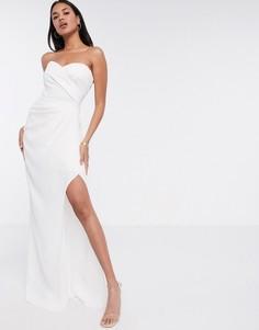 Белое платье-бандо макси Yaura-Белый