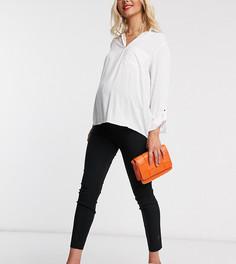 Зауженные брюки с посадкой над животиком ASOS DESIGN Maternity-Черный