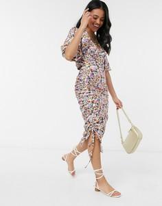 Лавандовая юбка миди со сборками по бокам и цветочным принтом Outrageous Fortune-Мульти