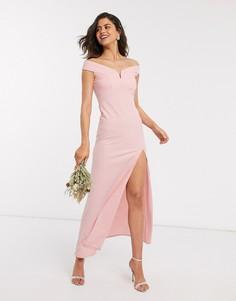 Розовое платье макси с открытыми плечами TFNC Bridesmaid-Розовый