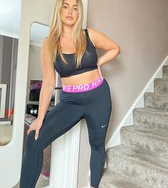 Тайтсы с розовой окантовкой Nike Training Pro Plus-Черный
