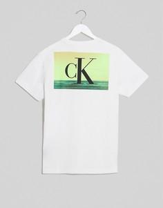 Белая футболка с принтом Calvin Klein Jeans-Белый