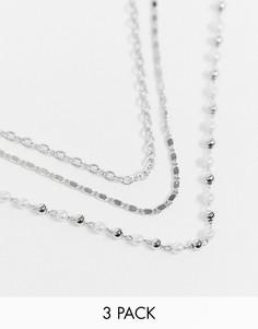 Серебристое ожерелье-чокер в несколько рядов Topshop-Серебряный