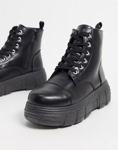 Черныеботинки из искусственнойкожив спортивном стиле Koi Footwear-Черный