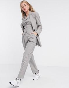 Серо-коричневые фактурные брюки от костюма ASOS DESIGN-Серый