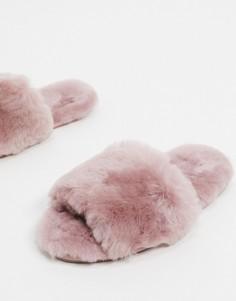 Розово-лиловые премиум-слиперы из овчины ASOS DESIGN-Розовый