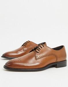Коричневые кожаные туфли дерби River Island-Коричневый