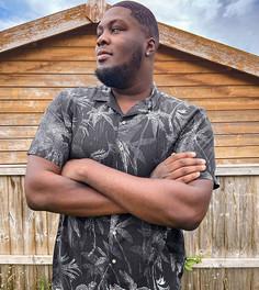 Чернаярубашка с короткими рукавами и пальмами Jack & Jones Originals-Черный