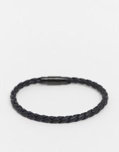 Кожаный браслет BOSS-Черный