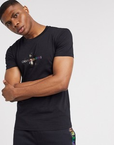 Черная футболка с радужным логотипом Calvin Klein Jeans Pride-Черный