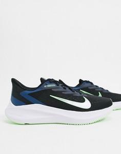 Черно-синие кроссовки Nike Running Winflo-Черный