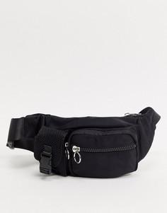 Черная нейлоновая сумка-кошелек на пояс Topshop-Черный